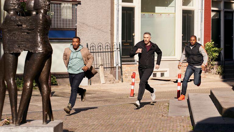 Noel Clarke as Bishop, Ashley Walters as Pike and Stavros Zalmas as Alex Markides in Bulletproof. Pic: ©Sky UK Ltd
