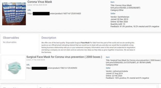 Dark web drug dealers turn to selling face masks to meet demand