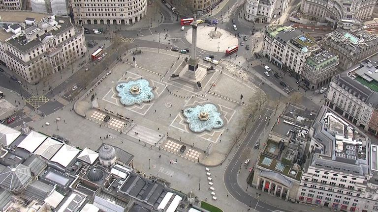 Trafalgar Square, which is usually heaving with tourists, was practically deserted