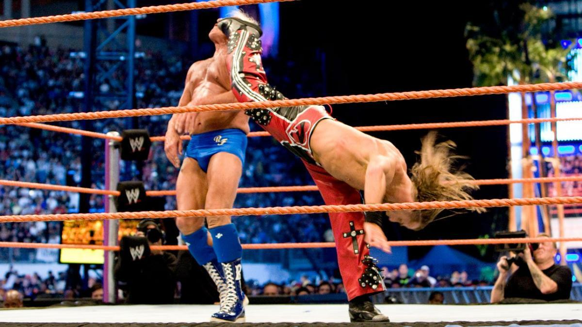The superkick that retired Ric Flair was preceded by Shawn Michaels paying his respects to his opponent