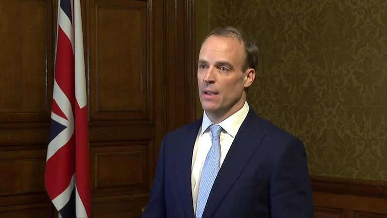 Foreign secretary Dominic Raab, now 'deputy prime minister' speaks after Boris Johnson was taken into intensive care.