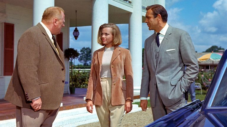 Gert Frobe, Honor Blackman and Sean Connery in Goldfinger in 1964. Pic: Danjaq/Eon/Ua/Kobal/Shutterstock