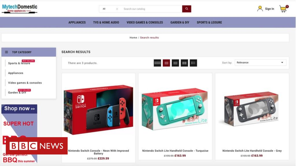 Google Search results topped by suspected scam gadget store