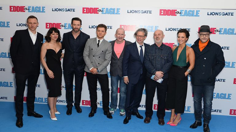 "Zygi Kamasa, Jo Hartley, Hugh Jackman, Taron Egerton, Eddie Edwards, Dexter Fletcher, Keith Allen, Ania Sowinski and Matthew Vaughn attend the European Premiere of ""Eddie The Eagle"" at Odeon Leicester Square on March 17, 2016 in London, England. (Photo by David M. Benett/Dave Benett/WireImage)"