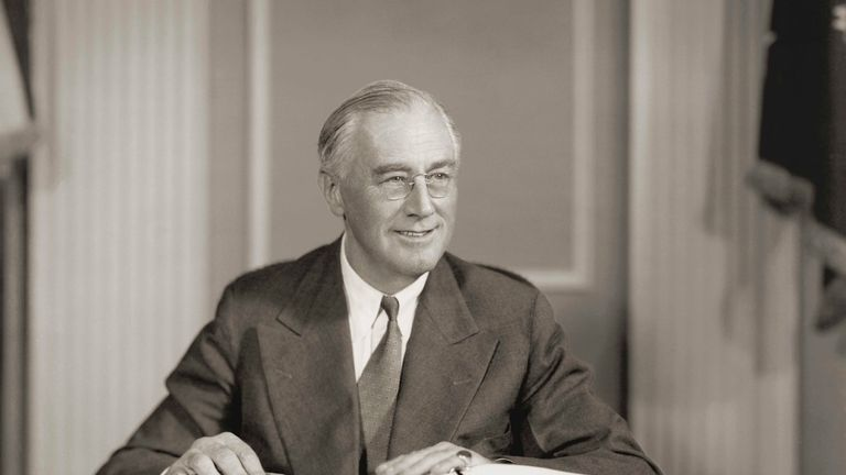 circa 1942: Seated portrait of Franklin D. Roosevelt (1882-1945), president of the United States (1933-1945), who developed government reforms known as the New Deal, secured establishment of Securities and Exchange Commission (1934), and the Social Security system (1935). (Photo by Stock Montage/Getty Images)