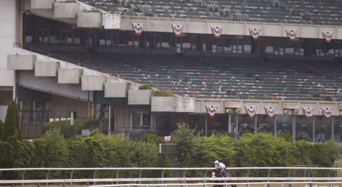 In photos: Belmont Stakes prepares to run without fans