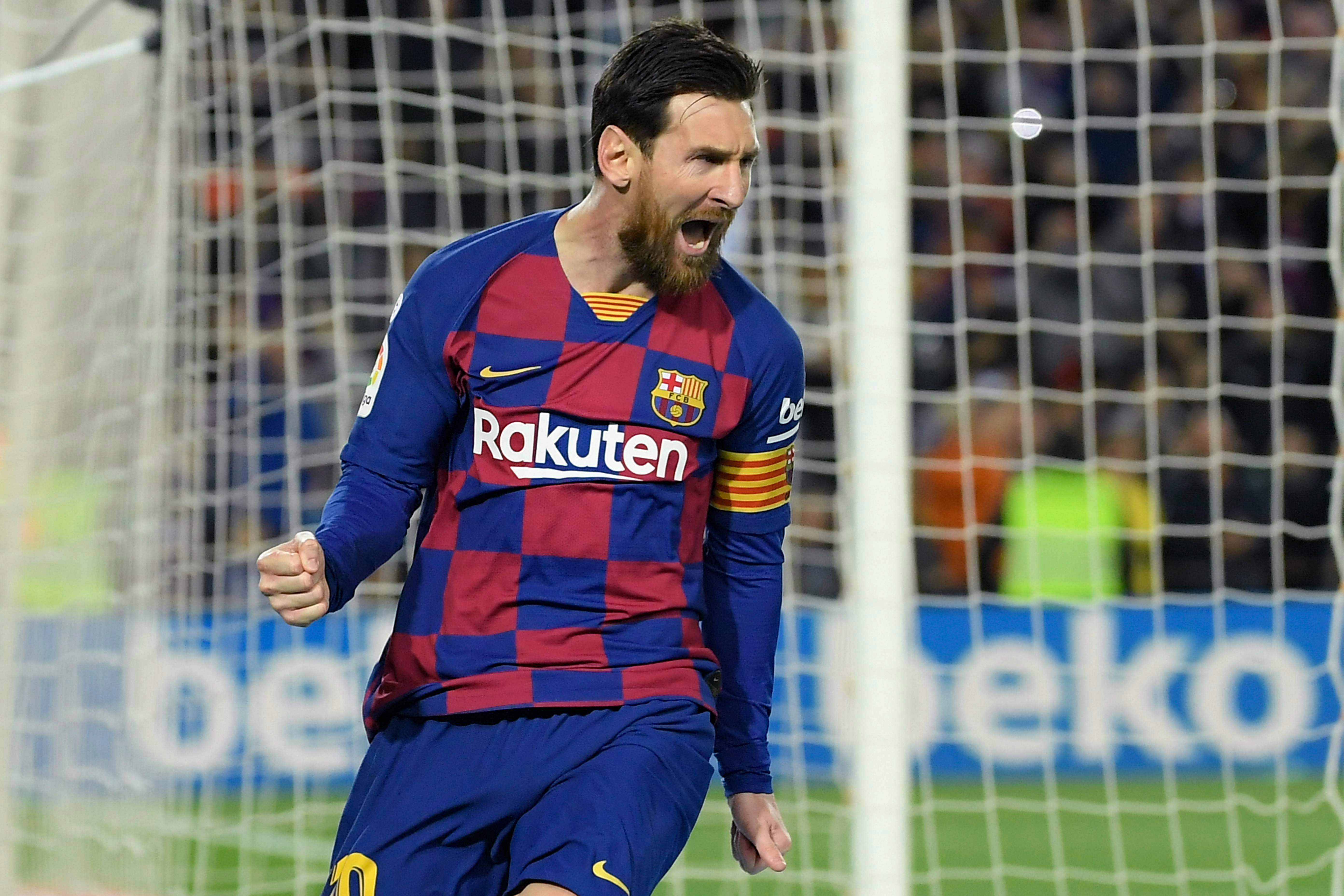 Barcelona and Argentina legend Lionel Messi celebrates yet another goal