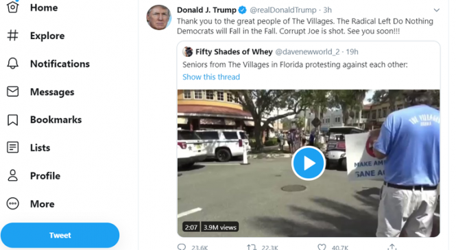 Trump retweets video featuring supporter shouting 'white power'