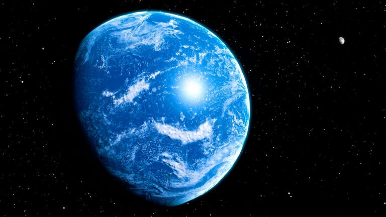 Planet covered by ocean