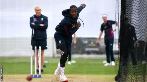 Jofra Archer bowling in the nets at Old Trafford
