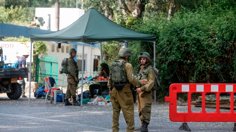 Israeli soldiers set up a check point on the Ghajar-Majdal Shams road by the Blue Line that separates Israel and Lebanon, after reports of clashes in the border area, on July 27, 2020. (Photo by Jalaa MAREY / AFP) (Photo by JALAA MAREY/AFP via Getty Images)