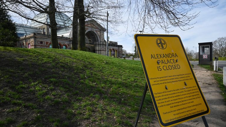 A sign alerts people to the closure of the Alexandra Palace, which has been shut since March