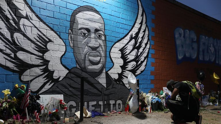 A memorial honouring George Floyd in Houston's Third Ward where he grew up