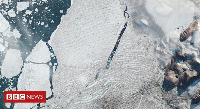Milne Ice Shelf: Satellites capture Arctic ice split
