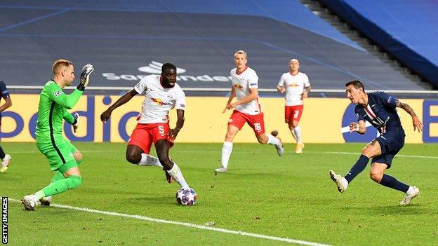 Angel di Maria scores for Paris Saint-Germain against RB Leipzig