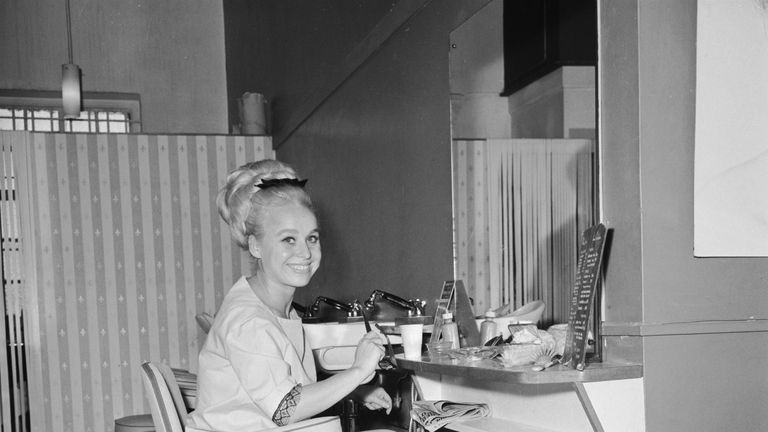 Actress Barbara Windsor in a dressing room, August 1964