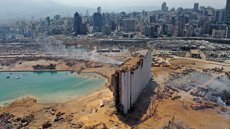 TOPSHOT - An aerial view shows the massive damage at Beirut port's grain silos and the area around it on August 5, 2020, one day after a massive explosion hit the heart of the Lebanese capital. - Rescuers searched for survivors in Beirut in the morning after a cataclysmic explosion at the port sowed devastation across entire neighbourhoods, killing more than 100 people, wounding thousands and plunging Lebanon deeper into crisis. (Photo by - / AFP) (Photo by -/AFP via Getty Images)