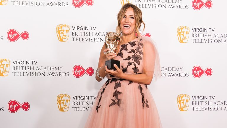 Caroline Flack with the BAFTA for Best Reality and Constructed Factual show in the press room during the Virgin TV British Academy Television Awards at The Royal Festival Hall on May 13, 2018 in London