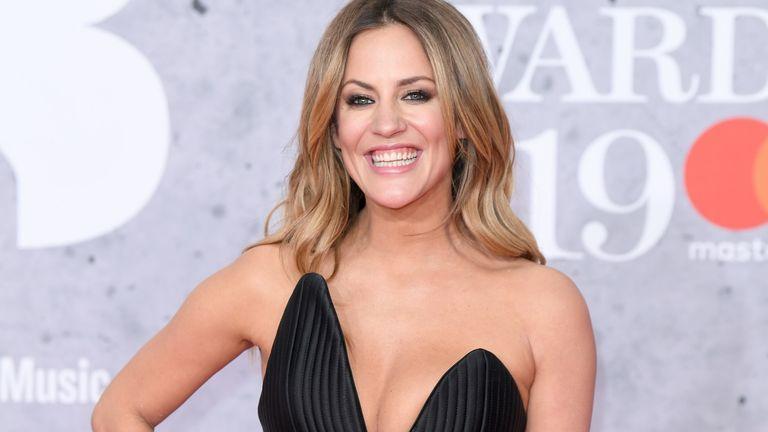 Caroline Flack arrives for the Brit Awards at the 02 Arena, London in 2019