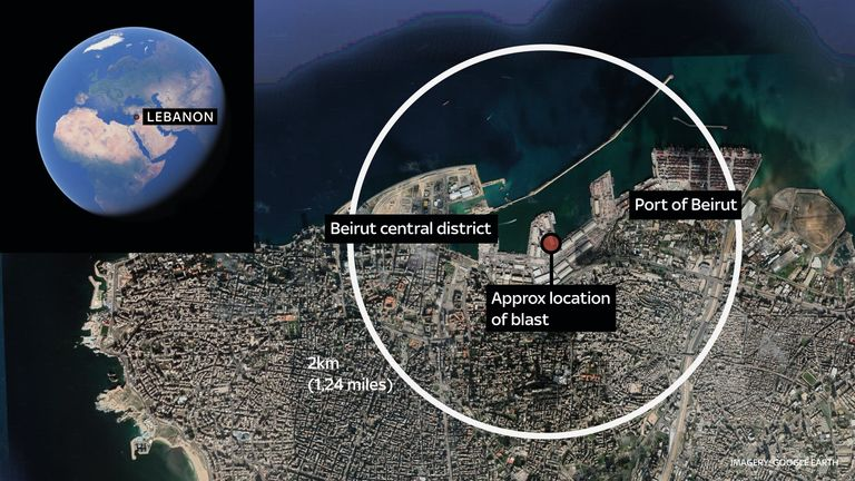 Map of Beirut showing approximate location of the blast, and a 2km radius - as the effects of the explosion were felt across the city