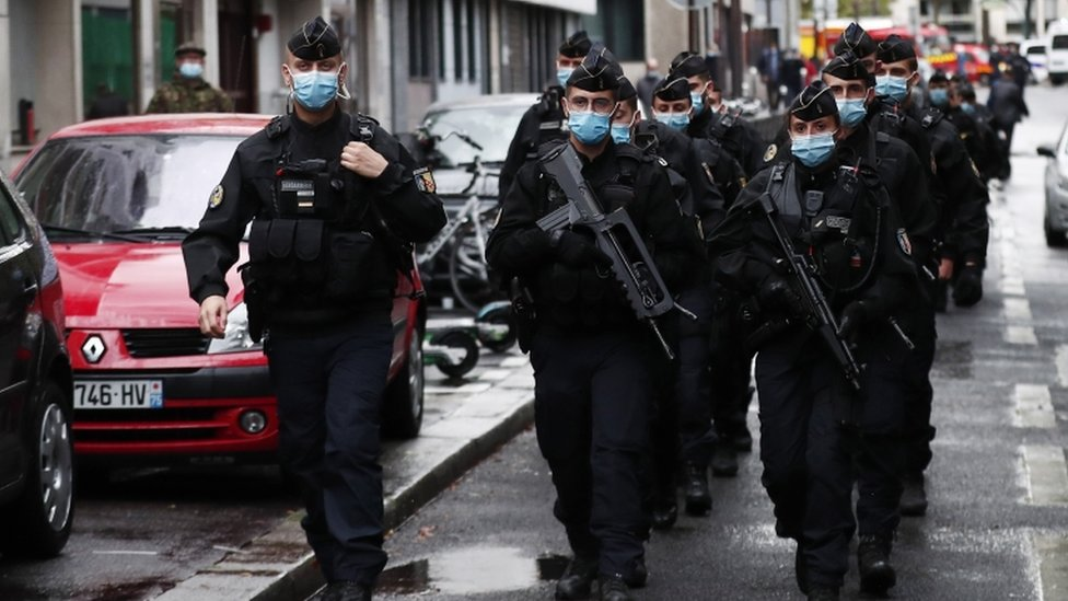 Police in Paris after the stabbing attack. 25 Sept 2020