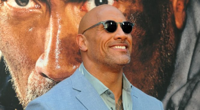 Dwayne Johnson tears down faulty security gate to get to work