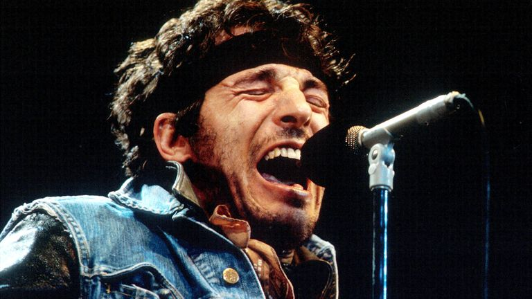 Bruce Springsteen performs during the last show of the 1985 'Born in the U.S.A. Tour', October 2, 1985 in Los Angeles, California