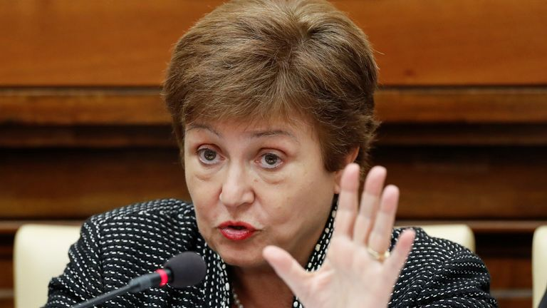 IMF Managing Director Kristalina Georgieva speaks during a conference hosted by the Vatican on economic solidarity, at the Vatican, February 5, 2020