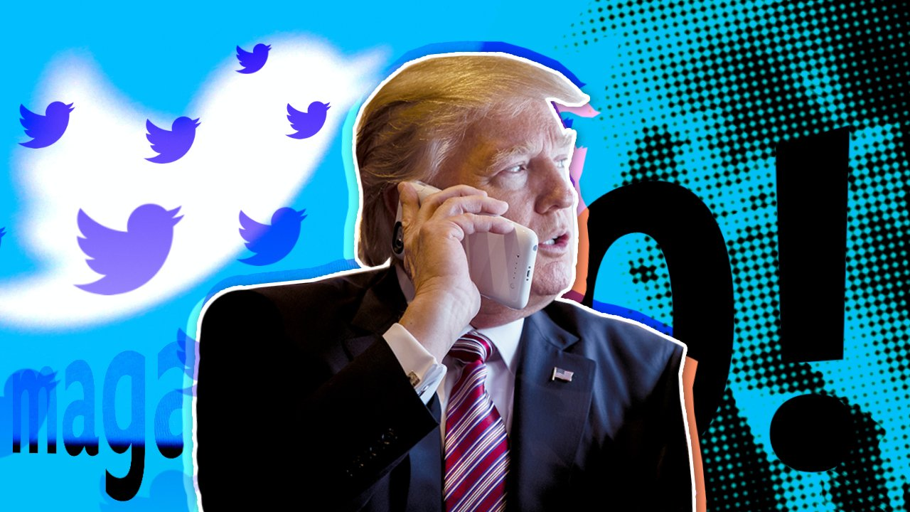 Donald Trump in front of the Twitter logo
