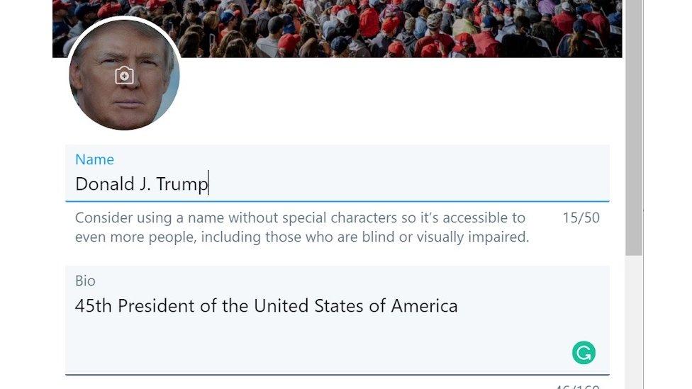 A screenshot of Donald Trump's Twitter account