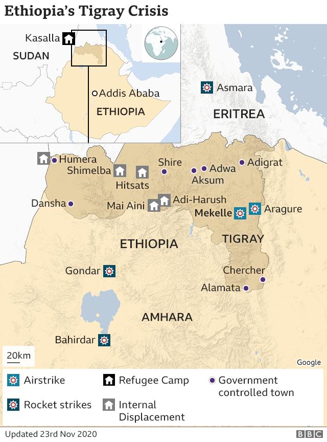 Ethiopia's Tigray crisis: PM claims capture of regional capital Mekelle