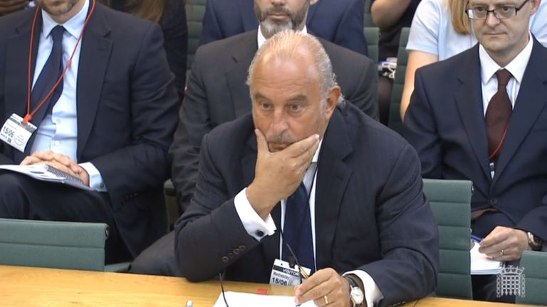 Sir Philip Green gives evidence to the Business, Innovation and Skills Committee and Work and Pensions Committee