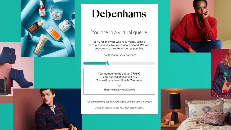 Debenhams queue screenshot