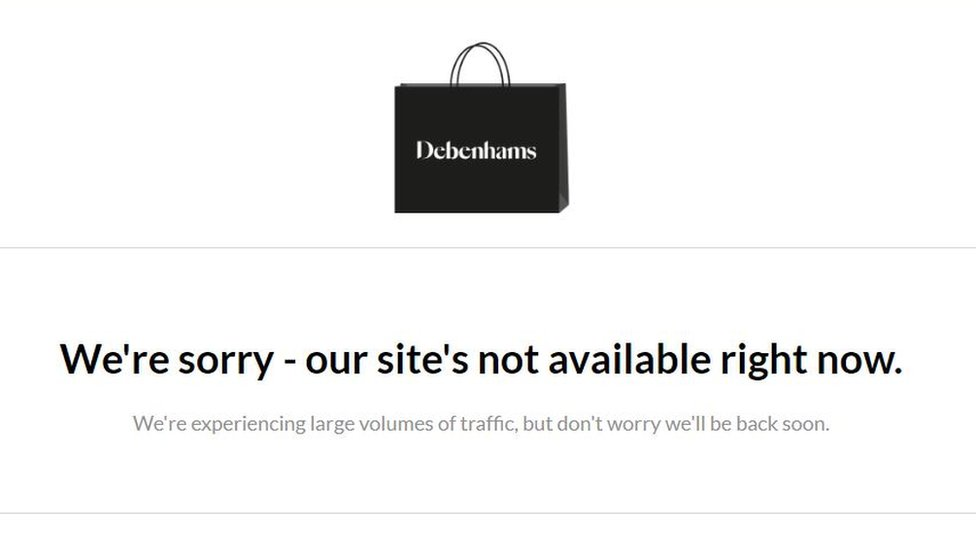 Debenhams website screenshot