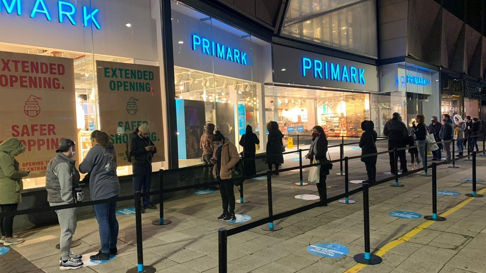 A queue outside Primark in Birmingham on Wednesday morning