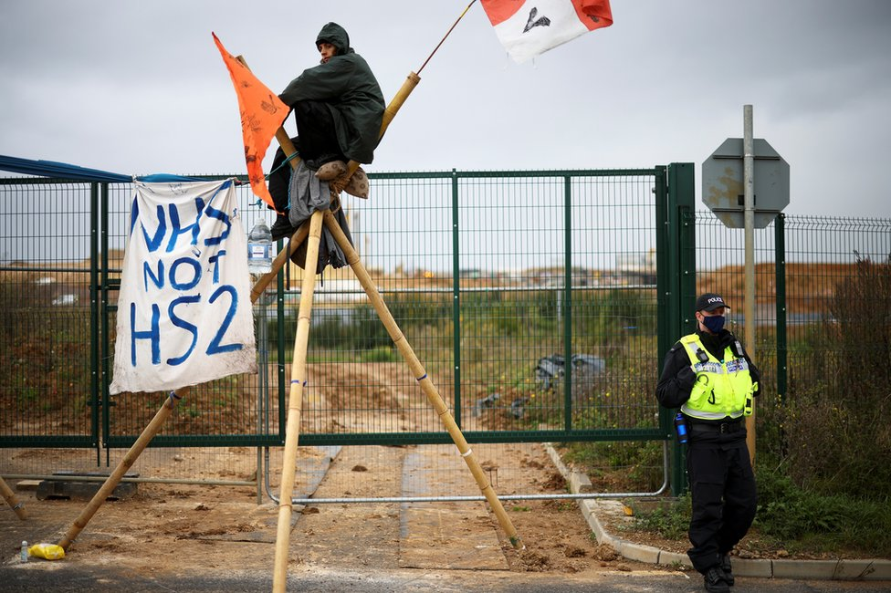 HS2 protests in Denham