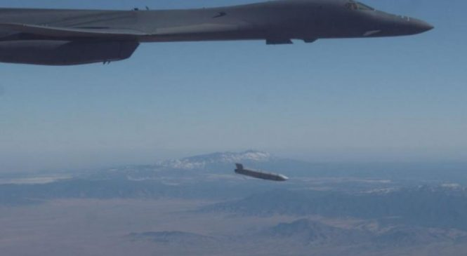 B-1B bomber carries, launches missile externally for first time, Air Force says