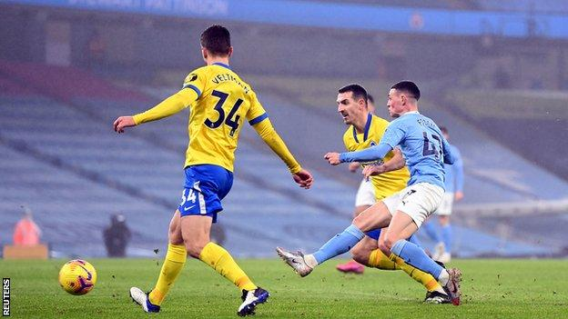 Manchester City 1-0 Brighton: Phil Foden scores only goal for Pep Guardiola's side