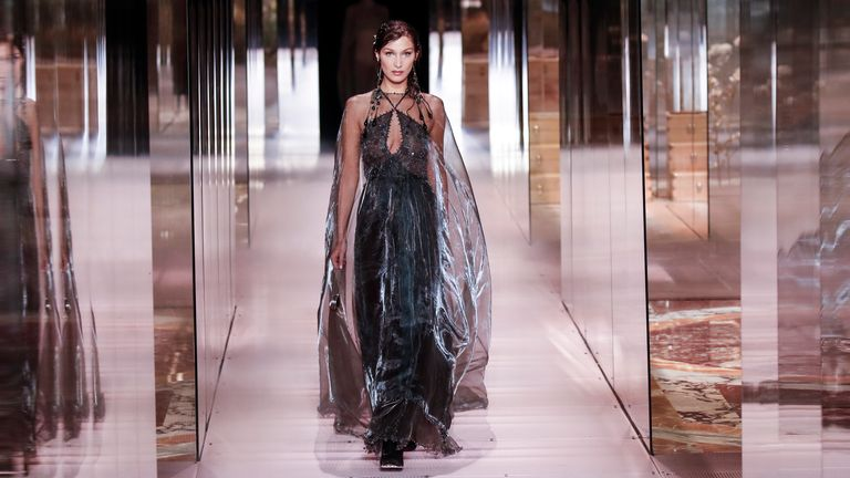 Model Bella Hadid wears a creation for Fendi's Spring-Summer 2021 Haute Couture fashion collection. Pic: AP
