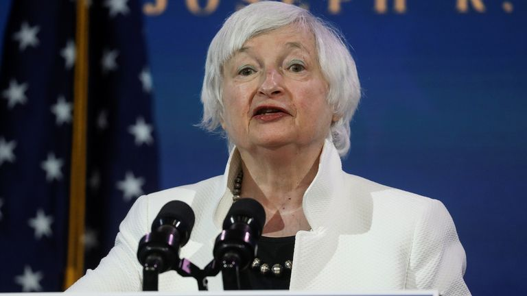 Janet Yellen, U.S. President-elect Joe Biden's nominee to be treasury secretary, speaks as Biden announces nominees and appointees to serve on his economic policy team at his transition headquarters in Wilmington, Delaware