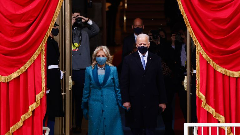Inauguration of Joe Biden as the 46th President of the United States President-elect Joe Biden and his wife Jill Biden arrive for the inauguration of Joe Biden as the 46th President of the United States on the West Front of the U.S. Capitol in Washington, U.S., January 20, 2021. REUTERS/Jim Bourg