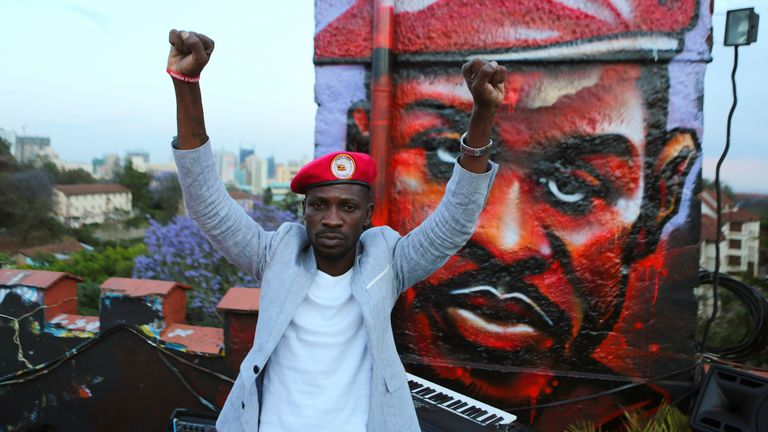 Bobi Wine's trademark red beret has become a symbol of opposition to longtime President Yoweri Museveni.
