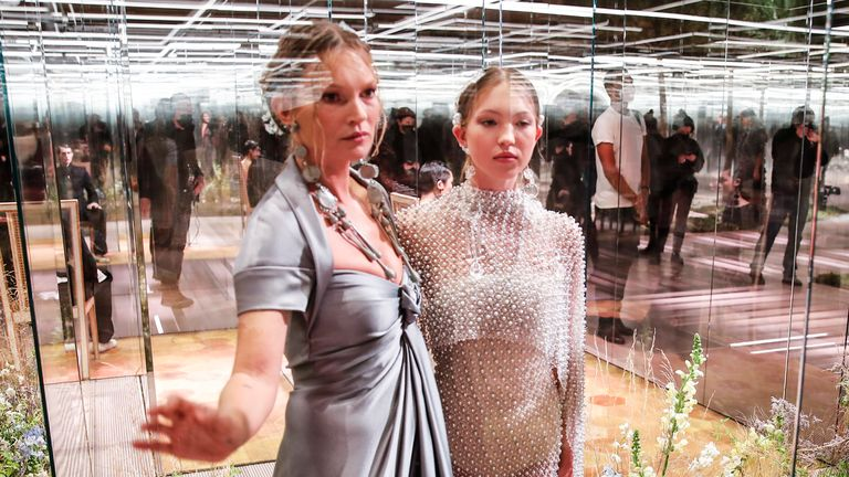 Model Kate Moss, left, and her daughter Lila Grace Moss wear creations for Fendi's Spring-Summer 2021 Haute Couture fashion collection. Pic: AP