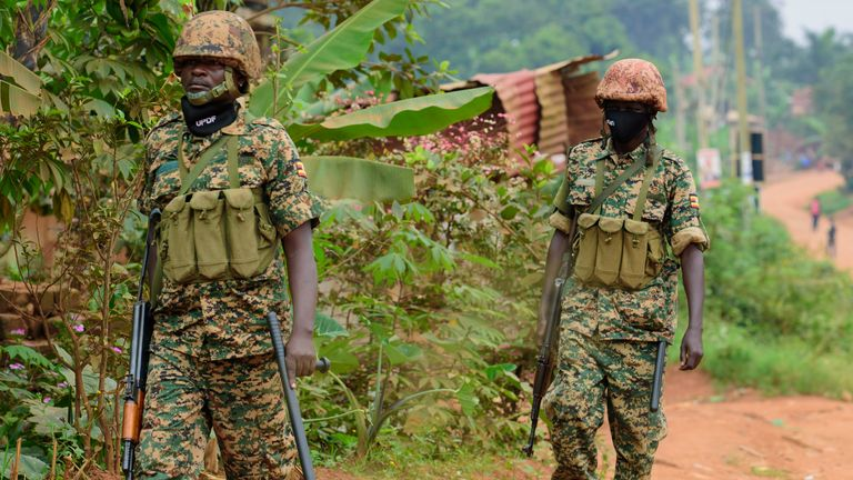 The deployment of  soldiers around  Bobi wine`s home in Magere, Kampala, Uganda, Saturday, Jan. 16, 2021,  after president Yoweri Museveni was declared  winner by electoral commission this afternoon..(AP Photo/Nicholas Bamulanzeki).