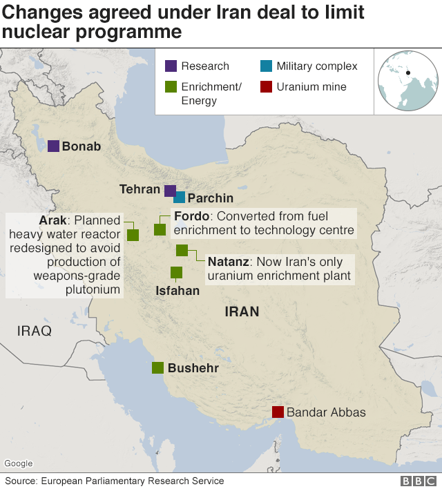 Changes agreed under Iran deal to limit nuclear programme