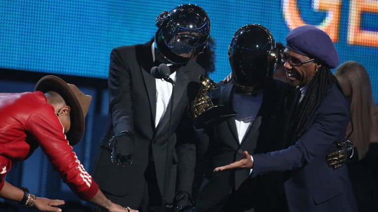 Pharrell Williams and Nile Rodgers pay homage to Daft Punk at the Grammys in 2014. Pic: AP