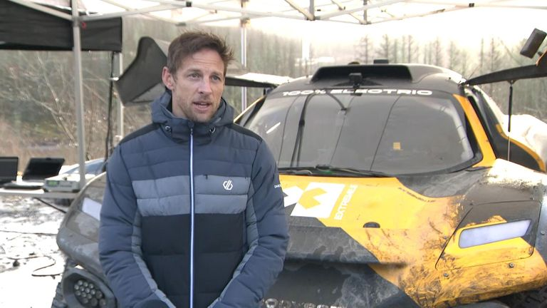 Jenson Button test driving electric SUV for new rally series highlighting climate change