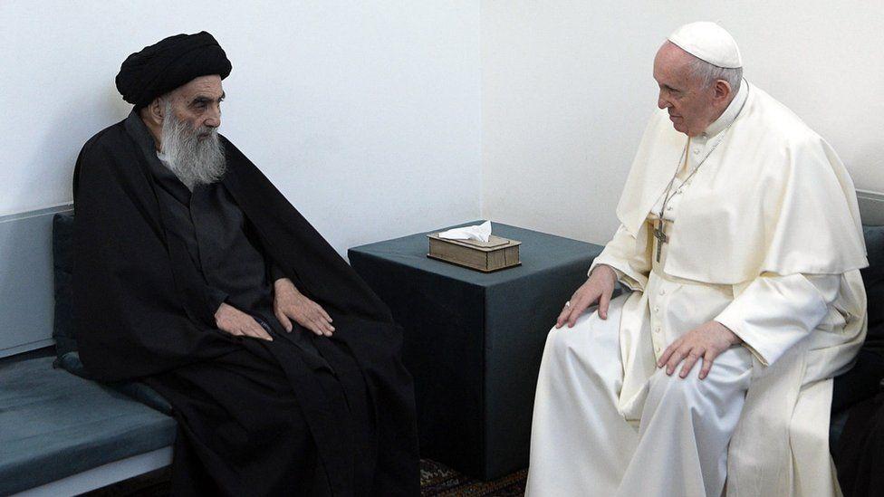 Grand Ayatollah Ali al-Sistani with Pope Francis on Saturday