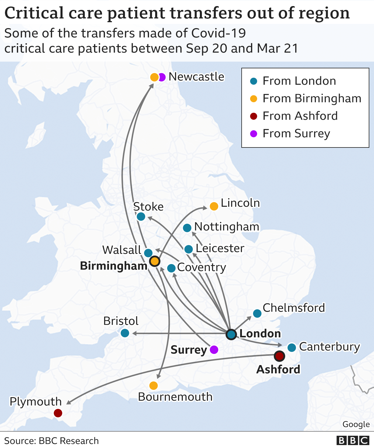 Covid: Intensive-care patients moved hundreds of miles