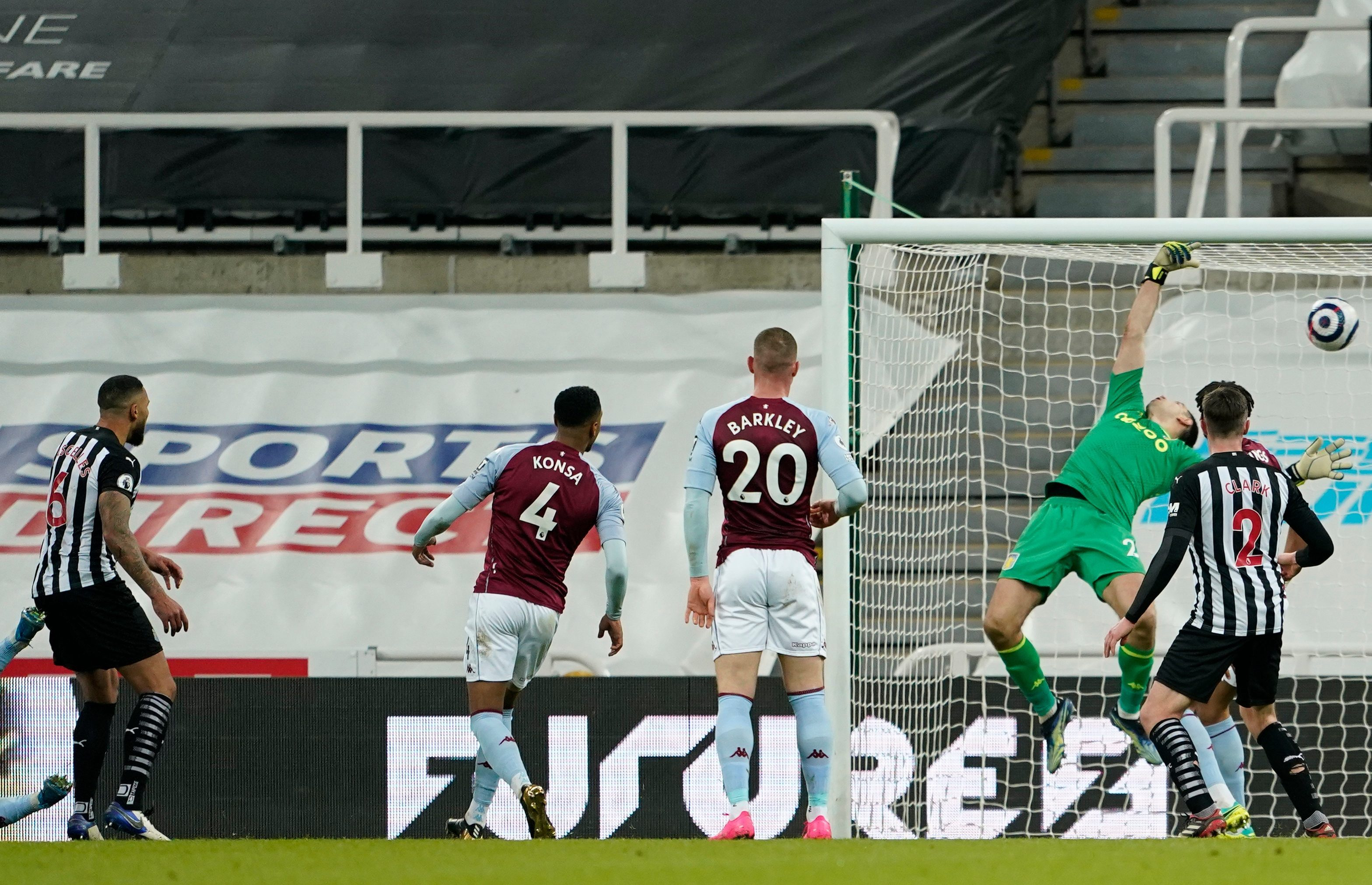 Jamal Lascelles scores injury-time goal to rescue point for relegation-threatened Newcastle against Aston Villa